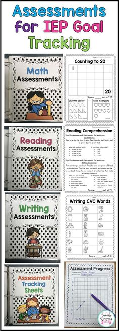 Assessments for IEP Goal Tracking. Track your students progress in math, reading… Assessments for IEP Goal Tracking. Track your students progress in math, reading and writing with these easy to administer assessments! Teaching Tools, Teacher Resources, Resource Teacher, Teacher Tips, Teaching Art, Teaching Ideas, Data Binders, Iep Binder, Student Binders