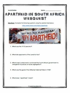 Apartheid in South Africa - Webquest with Key - This 8 page document contains a… Social Studies Lesson Plans, 6th Grade Social Studies, Social Studies Resources, Ancient Egypt Lessons, Essay Starters, Apartheid, Study History, Seventh Grade, History Teachers