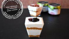 Mini-gâteaux au fromage sans cuisson - Auboutdelalangue.com Beignets, Pesto, Tasty Dishes, Fudge, Biscuits, Panna Cotta, Pancakes, Muffin, Dessert Recipes