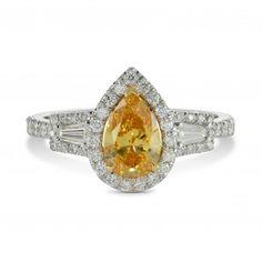 Fancy Intense Orange Yellow Pear Diamond Ring, SKU 149986 (1.3Ct TW)