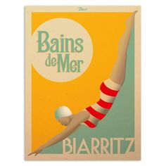 """Retrouvez les affiches Marcel Biarritz """"Bains de Mer"""" sur www.marcel-biarritz.com. Papier 300g/m² couché mat. Posters originaux tirés en série limitée."""