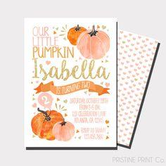 Pumpkin Birthday Invitation, Fall Birthday Invitation, Our Little Pumpkin at https://www.etsy.com/listing/399779869/our-little-pumpkin-birthday-invitation
