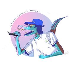 Illustration de Rebecca Thomas (@rbkthomas) Crocméo Elvis, le reptilien.