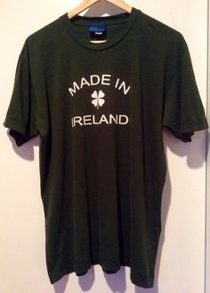 BDg Urban Outfitter Made In Ireland 4 Leaf Clover T-Shirt Green Sz L Irish Pride #BDG #GraphicTee