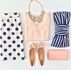 Ferragamo Vara pumps, kate spade georgica striped bow clutch, J.Crew polka dot skirt