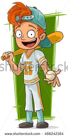A Vector Illustration Of Cartoon Young Baseball Player With Bat Red Head Cartoon Cartoon Baseball Bat Drawing