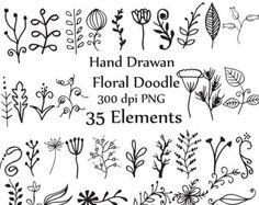 Doodle flores Clipart y vectores dibujados a por StudioDenmark