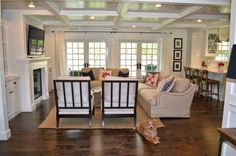 The Cape Cod Ranch Renovation - like the placement of flatscreen and built-ins