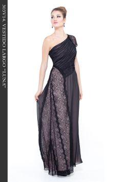 """Vestido Largo en tejido gasa color negro combinado con puntilla. Cuerpo drapeado. Fondo vestido con tejido charmeuse color nuede. Ref. 303V14 """"Luna"""""""