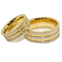 Blue Chip Unlimited - Matching 6mm & 8mm Titanium and Triple Gold Rings His & Hers Ring Set Wedding Bands Engagement Rings (Available in Whole & Half Sizes -- 6mm:4-16; 8mm:4-17) Blue Chip Unlimited. $57.95. His & Hers Matching Set. **PLEASE MESSAGE US WITH THE SIZES YOU NEED AFTER YOU COMPLETE THE TRANSACTION**. Comfort Fit Band. Shape: Flat; Finish: 2-Tone Ultra High Polish. Classic Lightweight & Durable 6mm & 8mm Titanium 18k Gold Plated Rings. Save 88%!