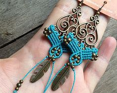 Micro Macrame Earring Patterns | micro macrame earrings teal turquoi se feather hippie chic elven ...