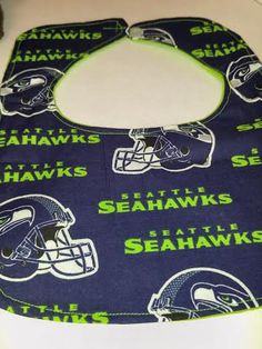 Seattle Seahawks bib, football bib, baby bib, flannel bibs, sports bib, baby shower gift, NFL teams, by RoseCityCrafter on Etsy