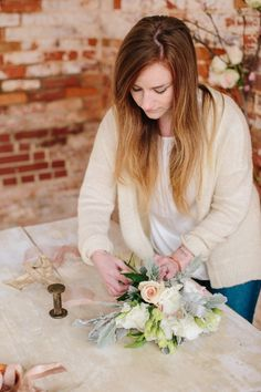 floral design with florals by Cote Designs | ribbon by Silk & Willow | photo by Lauren Carnes Photography | styled by b is for bonnie design for the illume retreat | Enterprise Mill Events in Augusta, GA