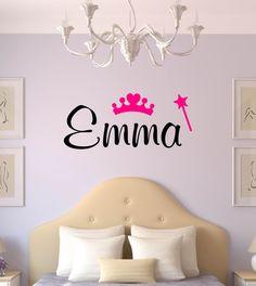 Custom Name & Princess Vinyl - Bedroom Vinyl Wall Art Decal, Princess Decor, Children's Vinyl Lettering, Girl Name Vinyl, Princess, 30x13 by TheVinylCompany on Etsy