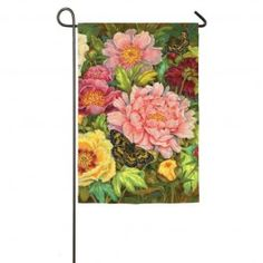 """Peony Parade"" Printed Suede Seasonal Garden Flag; Polyester 12.5""x18"" #springtime #springflowers #gardenflag #flagsaflying"