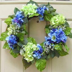 Summer Wreaths, Hydrangeas, Summer Decorations, Blue Wreath, Etsy Wreaths, Summer Hydrangeas, Wreath Pair