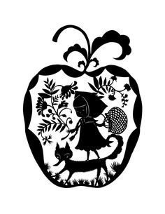 Caperucita recortada. This black and white design is a print of an original papercut made by Elsa Mora.  http://www.etsy.com/listing/95575502/little-red-riding-hood#