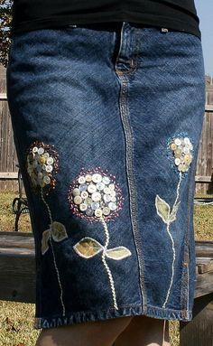 jeans flower skirt--this would be nice on a denim apron  Ruffled Dresses #2dayslook #RuffledDresses #jamesfaith712  www.2dayslook.com