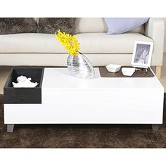 Furniture of America Jade Modern White Coffee Table with Serving Block ** Want additional info? Click on the image.