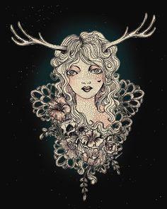 This Dear girl also has beautiful deer antlers. Fantasy Men, Deer Antlers, Enchanted, Mythology, Revolution, Amanda, Paintings, Female, Drawings