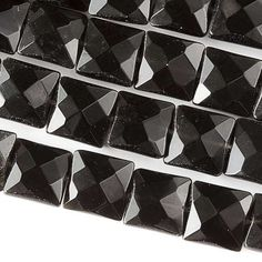 "Obsidian, 10mm Faceted Squares, 8"" Strand, 7OB62-0002"