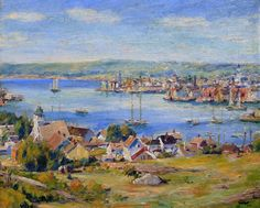 """Gloucester Harbor from Pilot Hill,"" Max Kuehne, oil on canvas, 20 x 24"", McDougall Fine Arts Galleries,"