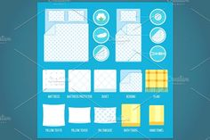 Bed linen set Graphics Vector set of bedding elements and towels with simple icons. Fully editable EPS. by colorcocktail