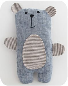 Today this stuffed bear is available to a good home. Re-homed! His body is made from a lovely blue linen fabric, and his ears and belly are a yarn dyed cotton from Lecien. If you'd like to make your own... More