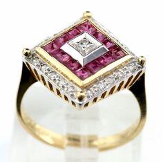 14K YG 1.2TCW Princess Cut Ruby 0.2TCW Round Cut Diamond Cocktail Ring  B4 #FJL