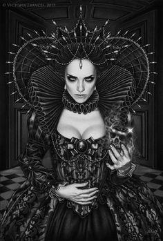 """""""Poisonous Envy"""" by Victoria Frances. Art in black vampire queen Boris Vallejo, Dark Fantasy Art, Fantasy Artwork, Fantasy Queen, Dark Art, Gothic Artwork, Dark Beauty, Gothic Beauty, Vampires"""