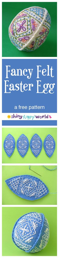 Easter Craft Ideas - make a pretty embroidered felt egg with this free tutorial from Shiny Happy World