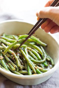 Asian Green Beans by wickedspatuoa la: Ready in just minutes this healthy side dish goes with just about any protein. #Green_Beans #Asian #Healthy #Fast