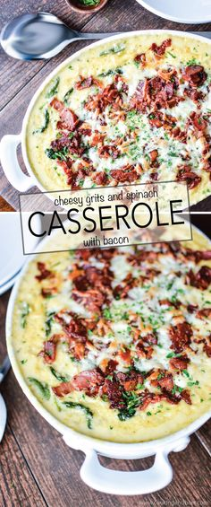 Cheesy Grits and Spinach Casserole with Bacon is a comforting side dish recipe for any occasion! | www.cookingandbeer.com