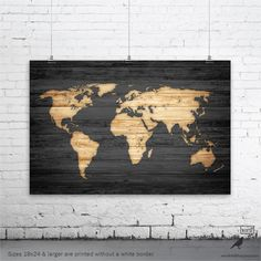Rustic World Map Vintage Map of the World Wood by WordBirdShop