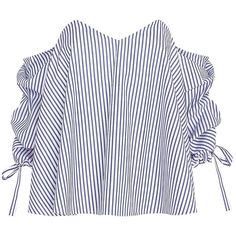 Caroline Constas Striped Poplin Off The Shoulder Blouse ($395) ❤ liked on Polyvore featuring tops, blouses, poplin blouse, zipper blouse, white top, off shoulder tops and striped blouse