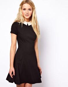 1fd4ffe135f Women s Black Skater Dress with Contrast Collar
