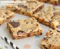 Toasted Marshmallow Tagalong Peanut Butter Cake Bars by Picky Palate
