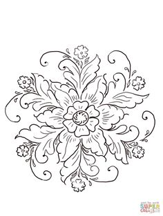 Embroidery Patterns Norwegian Rosemaling coloring page from Norway category. Select from 21274 printable crafts of cartoons, nature, animals, Bible and many more. Floral Embroidery Patterns, Embroidery Designs, Folk Embroidery, Flower Patterns, Colouring Pages, Coloring Books, Rosemaling Pattern, Norwegian Rosemaling, Muster Tattoos