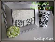 frame with stamped burlap