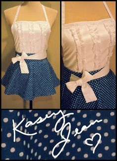 White n' Blue Polka Dot Apron by: Kasey Jean Clothing @ Facebook.com/kaseyjeanclothing Denim Aprons, Blue Polka Dots, Crafts To Do, Jean Outfits, Sisters, Facebook, Sewing, Clothing, Fashion