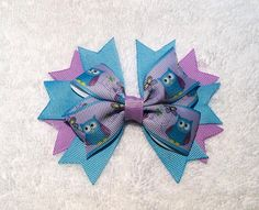 Owls Hair Bow 4.25 Stacked Boutique Pinwheel by ItsEspecially4U