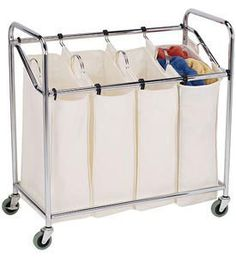 Love that this is on wheels and has separate hampers to immediately separate whites, colors, darks, etc. and each one is removable for easy transport from a closet to the laundry.