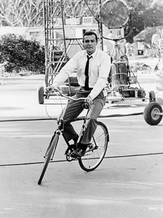 Sean Connery on the Universal Lot (1964)  Sean Connery, riding a Schwinn on the Universal lot during the filming of Alfred Hitchcock's Marnie, which co-starred Tippi Hedren.