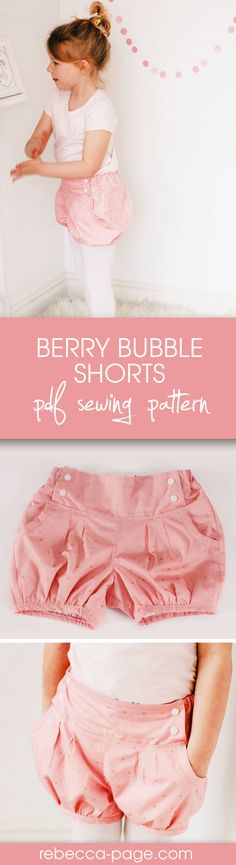 Berry Bubble Shorts PDF Sewing Pattern. With pleats in both the front and back, and an option to use either regular or buttonhole elastic for an adjustable fit across the back, they can grow with your child. Has a straight or bubble leg option. Sizes newborn to 12 years.