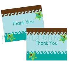 Downloadable DIY Thank You Cards  Swimming Sea by plumeriaprints, $6.00