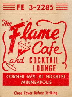 Flame Cafe matchbook cover via jericl cat on Flickr