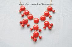 SALE - Red - Big Size Smooth Bubble Statement Necklace - Gold Tone. $15.00, via Etsy.