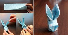 Hop to It! How to make a Paper Napkin Bunny... very cute...