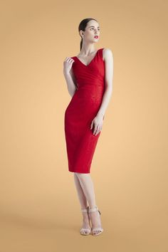 Maggy London | Sleeveless Red Dress | pairs perfectly with a red lip!