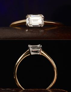 EB Emerald Cut Ring, Vintage 0.50ct Emerald Cut Diamond (GIA: F/SI1), Platinum, 18K Yellow Gold, $3350